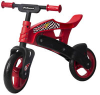 Polisport Childrens Balance Bike Plastic Boys Girls Training Bicycle Red Black