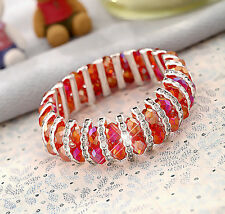 Red Sparkly Crystal Beads & Silver Half Crystal Rings Costume Bracelet Bangle