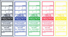 1000 ELECTRICAL TEST TAGS / LABELS. MIXED COLOUR PACK, INCLUDES FREE CUSTOMISING