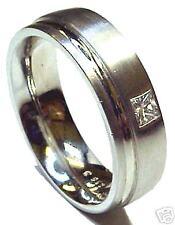 NEW 14K WHITE GOLD MEN WEDDING BAND RING WITH 0.1Ct GENUINE PRINCESS CUT DIAMOND