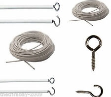 Net Curtain Wire Any Length Free Hooks & Eyes