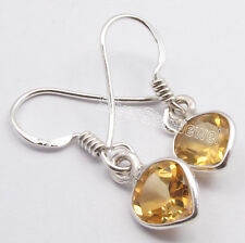 "925 Silver CUT YELLOW CITRINE HEART Earrings 1"" Price $0.99 Auction Win"