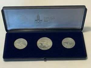 RUSSIA (USSR) Set 3 Silver Coins 1977 - XXll Olympiad Moscow 1980 Olympics (139)