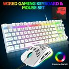 Gaming Keyboard and Mouse Wired Set Rainbow Backlit Mechanical For PC Laptop PS4