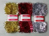 12 FT Christmas Tinsel Garland - Choose: Red, Gold, Silver - Holiday - Christmas