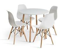 4er Set  Stühle mit Holzbeinen für Esszimmer Metallrahmen  Weiß