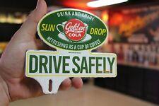 SUN DROP GOLDEN COLA DRIVE SAFELY PORCELAIN METAL PLATE TOPPER SIGN GAS OIL COKE