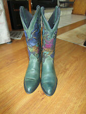 CAPEZIO* WOMENS SZ 7 WESTERN COWBOY BOOTS STYLE#15508 GREEN LEATHER&FLORAL  EUC!