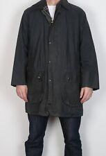 "BARBOUR Border Wax Jacket Coat 40"" Medium Large Navy Blue Vintage  (5BC)"