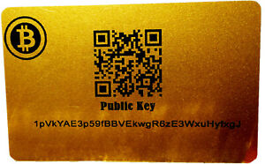 Bitcoin BTC Cold Secure Wallet Card Gold