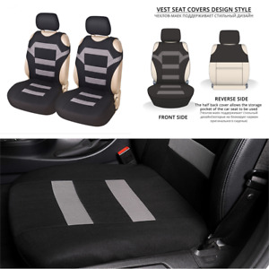 Front 2-piece Car Seat Cover Car interior Accessories Fabric T-shirt Design Gray