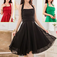 Chiffon Halter Neck Patternless Party Dresses for Women
