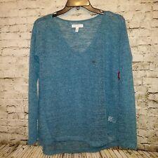 AEROPOSTALE Sweater Womens Medium V-Neck L/S Sheer Pullover Shiny Green $42.50