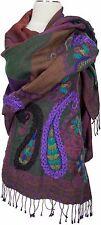 Pashmina Schal scarf Wolle Lila Grün wool hand bestickt embroidered purple green