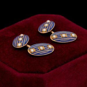 Antique Vintage Art Nouveau 14k Gold RIKER BROS Seed Pearl Enamel MENS Cufflinks