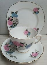 Colclough China Royal Vale Bone China Blue & Pink Trio c1945-48 Made in England