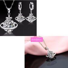 925 Silver Crystal Flower Orb Cross Pendant Necklace & Earrings Set Jewellery UK