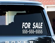 Custom FOR SALE sticker 6 x 12 your phone number vinyl window decal car truck