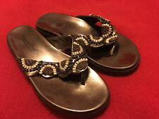 COLDWATER CREEK Fancy Beaded Flip Flop / Thong Sandals - Size 7W