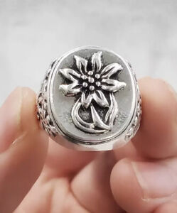 German WW2 Ring Edelweiss Alpine Division, Military, Silver, Vintage.