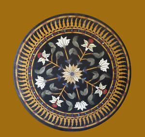 "36"" Black Marble Table Top Stone Pietra Dura Handmade Decor"