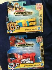 TRANSFORMERS CYBERVERSE ENERGON  AXE ATTACK OPTIMUS PRIME AND CYBERVERSE BUMBLEB