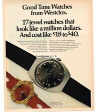 1970 WESTCLOX Wrist Watch Man's 38141, Woman's 37121 Vtg Print Ad