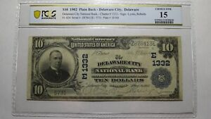 $10 1902 Delaware City Delaware DE National Currency Bank Note Bill #1332 PCGS