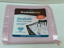 Crib Bumper Safe Baby Sleep Breathable Pink Mesh Fit All Crib Liner Nursery NEW
