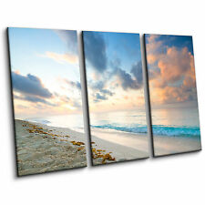 Caribbean Beach Ocean Landscape Blue Large Split Canvas Print Wall Art Picture