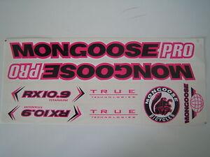 Mongoose PRO RX 10.9 Titanium Stickers Black, Pink & White. Die Cut.