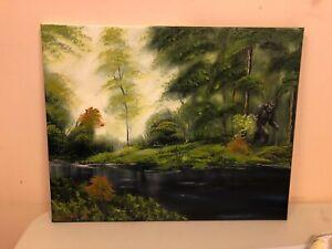 Bob Ross Style Original Oil Painting 16x20 canvas Bigfoot Sasquatch blackwater