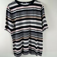 Isaac Mizrahi Live Short Sleeve Strip Top TShirt Neutral Pinks XL
