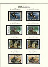 STATE OF W. VIRGINIA HUNTING PERMIT STAMPS 1987-1996 MOUNTED ON 3 PAGES BT6456