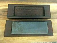 "Vintage Diamond Carpenters Sharpening Stone / Hone in Wooden Box 6"" x 2"""