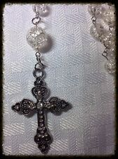 Handcrafted Rosary Clear Crackle Bead Silver Links And Chain