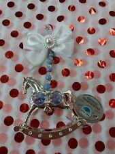 Blue Rocking Horse Pram Charm With Crystal Elements