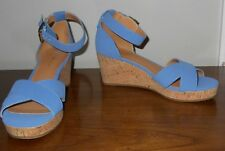 Tommy Hilfiger Slate Blue Cork Wedge Ankle Strap Sandals Size 8.5 NWOB