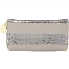 Deux Lux Grey/Silver Sequin Striped Zip-around Wallet $91 NWT