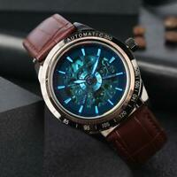SHENHUA Mens Automatic Skeleton Mechanical Leather Strap Band Luminous Watches