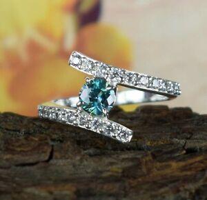 Anniversary Gift 2.34 Ct Blue Diamond Solitaire Halo Silver Designer Style Ring