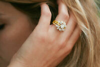 1.65 Ct Diamond Enhancer Engagement Bridal Wrap Ring 14K Yellow Gold Over