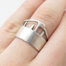 Vtg 925 Sterling Silver Unique Wide Handmade Modernist Ring Size 6.5