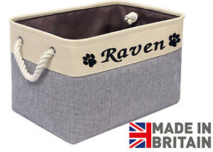 Personalised Toy Box/Toybox/Basket/Storage box for Dog, Cat or pet. Made in UK