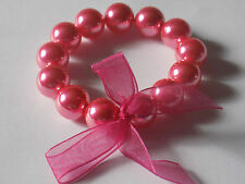 No Metal Pink Faux Pearl 15mm Beads Stretchy Elasticated Bow Bracelet