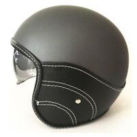 DOT Vintage Motorcycle Helmet Open Face Scooter Half Helmet Integrated Sun Visor