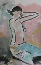 "JOSE TRUJILLO - Large Acrylic Painting ABSTRACT Nude Figure Woman New Art 26x40"""
