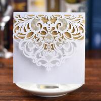 10/50pcs Wedding Invitation Diamond Laser Cut Card Personalized Romantic Party