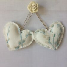 2 Heart Door Hangers ~ Laura Ashley Pussy Willow Off White/Duck Egg  ~ Handmade