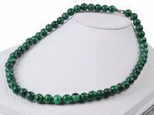 Collier / Ras de cou en Malachite. Perles de 8 mm.